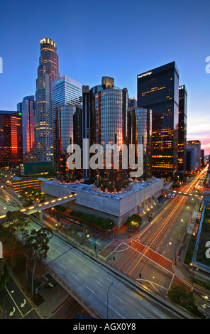 Downtown Los Angeles Skyline At Dusk, Los Angeles, Los Angeles County, California, United States, USA - Stock Photo