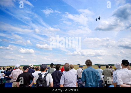 Spectators watching a display at the Flying legends airshow 2006 imperial war museum duxford cambridgeshire england - Stock Photo