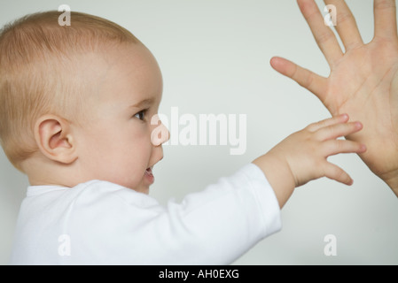 Baby reaching for adult's hand, cropped view - Stockfoto