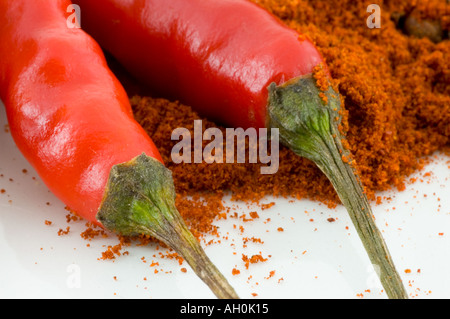 A selection of spices and red birds eye chilli peppers against a white background - Stockfoto