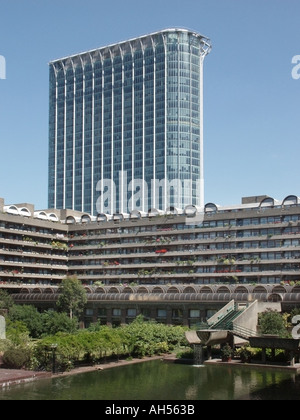 City of London Barbican complex waterside apartments with refurbished high rise office block close to Moorgate station - Stock Photo