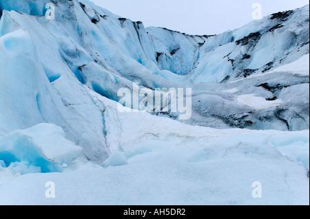 A mass of ice on Worthington Glacier Chugach Mountains near Valdez Prince William Sound Alaska USA - Stock Photo