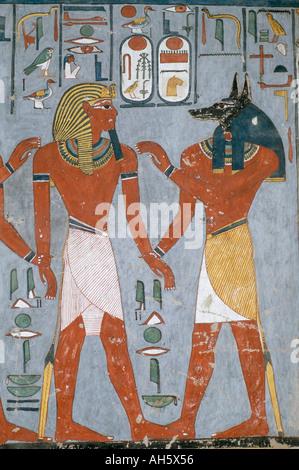 Luxor egypt paintings tomb of ramses i stock photo for Egyptian fresco mural painting