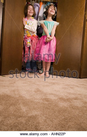 Young girls playing dress-up - Stock Photo