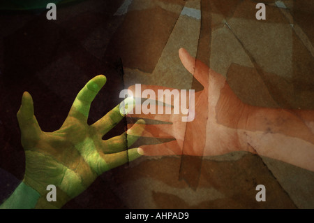 Hands reaching grasping collage technology concept - Stock Photo