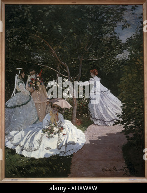 'fine arts, Monet, Claude (1840 - 1926), painting, 'Women in the garden', 1867, oil on canvas, Jeu de Paume, Paris - Stock Photo