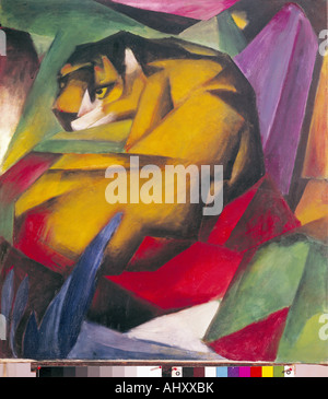 'fine arts, Marc, Franz, (1880 - 1916), painting, 'Der Tiger', ('the tiger'), 1912, oil on canvas, 111 cm x 111,5 - Stock Photo