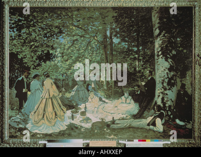 'fine arts, Monet, Claude (1840 - 1926): painting, 'The Picnic', 1865/1866, oil on canvas, Pushkin Museum, Moscow, - Stock Photo
