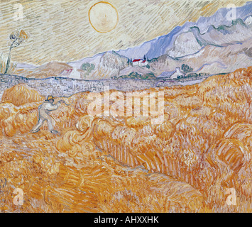'fine arts, Gogh, Vincent van, (1853 - 1890), painting, 'the harvest', 1889, Folkwang museum, Essen, historic, historical, - Stock Photo