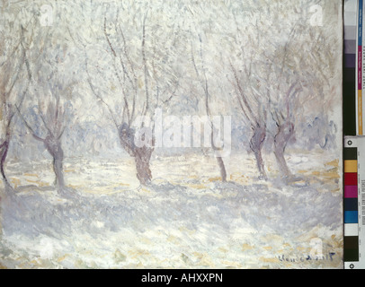 fine arts, Monet Claude (1840 - 1926), painting, winter landscape, Gothenburg Museum of Art, snow, coldness, trees, - Stock Photo