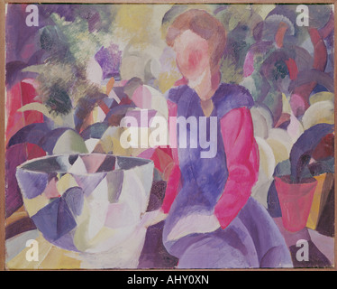 'fine arts, Macke, August, (1887 - 1914), painting, 'Mädchen mit Fischglas', ('girl with fish bowl'), 1914, oil - Stock Photo
