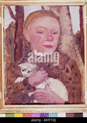 'fine arts, Modersohn-Becker, Paula (1876 - 1907), painting, 'Mädchen mit Lamm', Osthaus Museum, Hagen, girl with - Stock Photo