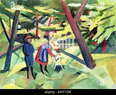 'fine arts, Macke, August, (1887 - 1914), painting, 'Kinder mit Ziege im Wald', ('children with goat in forest'), - Stock Photo