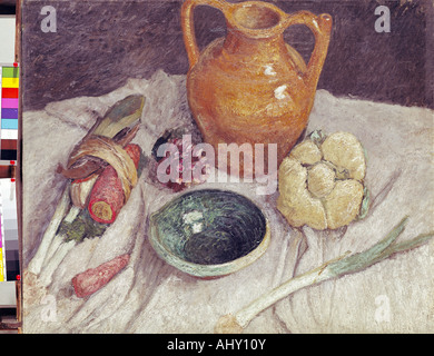 'fine arts, Modersohn-Becker, Paula (1876 - 1907), painting, 'Stil life with Jug', Lower Saxon State Gallery, Hannover, - Stock Photo