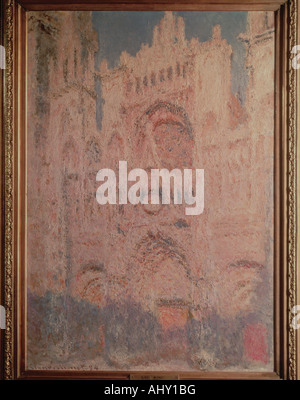 'fine arts, Monet, Claude (1840 - 1926), painting, 'The Rouen Cathedral in the Evening', 1894, oil on canvas, Pushkin - Stock Photo