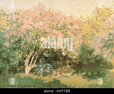 'fine arts, Monet, Claude (1840 - 1926), painting, 'Lilacs in the Sun', 1872, oil on canvas, Pushkin Museum, Moscow, - Stock Photo