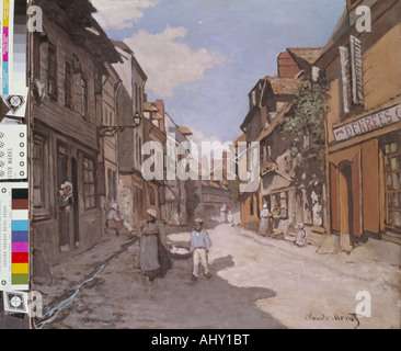 'fine arts, Monet, Claude (1840 - 1926), painting, 'Rue de la Bavolle in Honfleur', 1864, oil on canvas, Kunsthalle - Stock Photo