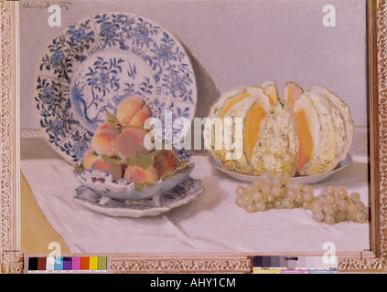 'fine arts, Monet, Claude (1840 - 1926), painting, 'Stil life with melon', 1872, oil on canvas, Museum Calouse Gulbenkian, - Stock Photo