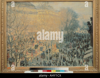 'fine arts, Monet, Claude (1840 - 1926), painting, 'Boulevard des Capucines', 1873, oil on canvas, Pushkin Museum, - Stock Photo