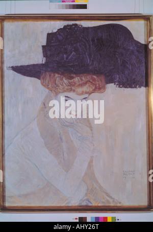 'fine arts, Klimt, Gustav, (1862 - 1918), painting, 'Der schwarze Federhut', ('the black feather hat'), 1910, 79 - Stock Photo