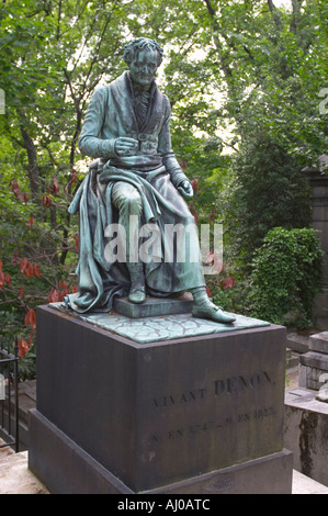 Grave of Dominique Vivant Baron de Denon French artist and archaeologist at Pere Lachaise Cemetery Paris France - Stock Photo