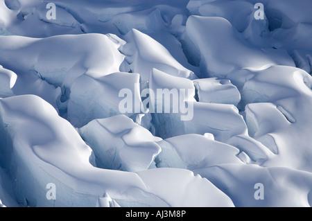 Crevasses Tasman Glacier Aoraki Mt Cook National Park South Island New Zealand aerial - Stock Photo