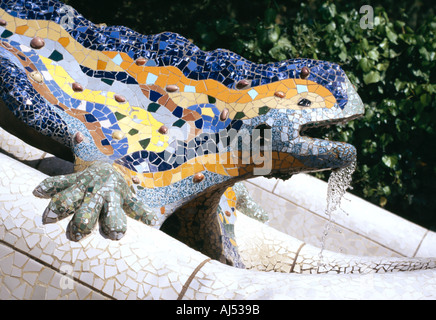 Parque Güell Park Guell Barcelona designed by Antonio Gaudi Art Nuevo Lizard like sculpture Barcelona Spain Unesco - Stock Photo