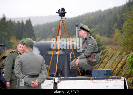 Three Nazis or Actors as WW2 German Soldiers in Uniform at the WARTIME WEEKEND on the North Yorkshire Railway at - Stock Photo