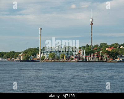 amusement park Skansen on the shore of Baltic Sea in Stockholm in Sweden - Stock Photo