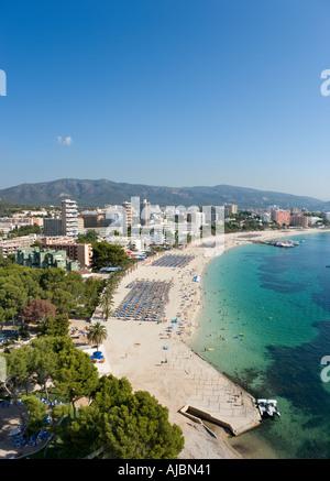 Beach from Sol Antilles Hotel, Magaluf, Bay of Palma, Mallorca, Balearic Islands, Spain - Stock Photo