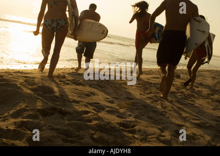 Five surfers carrying surfboards on beach at sunset, back view - Stock Photo