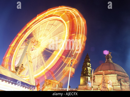 Cardiff City Hall and Big Wheel at night during Winter Wonderland Cardiff Wales UK - Stock Photo