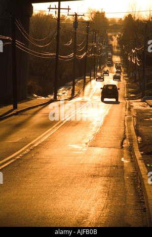 Cars Trucks & Lorries Speeding On Highway And Through Tunnel, USA - Stock Photo