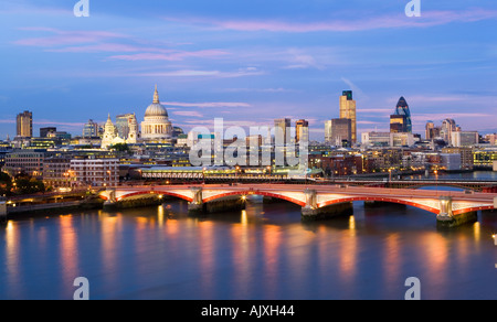 UK London View over river Thames to St pauls cathedral and city skyline - Stock Photo
