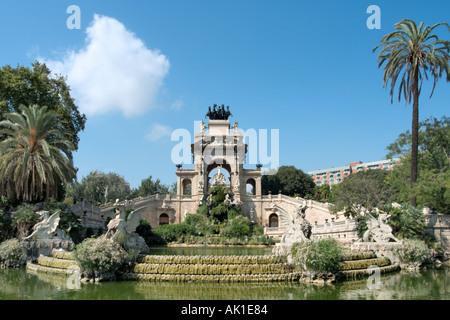 Cascada by Josep Fontsere and Antoni Gaudi in the Parc de la Ciutadella, Barcelona, Catalunya, Spain - Stock Photo