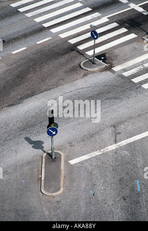 Crosswalk and traffic arrows, high angle view - Stock Photo