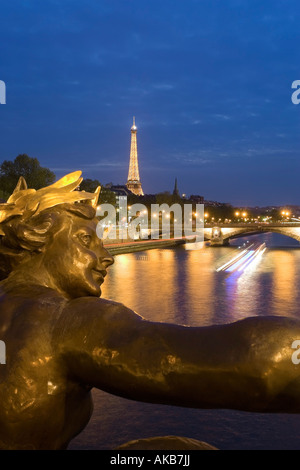 France, Paris, Eiffel Tower, view from Pont Alexandre III - Stock Photo