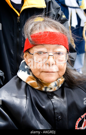 Senior American Indian woman age 80 costumed and ready to start parade. MayDay Parade and Festival. Minneapolis - Stock Photo