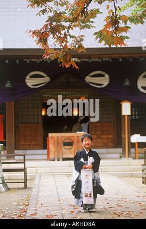 Japanese boy in kimono during November children's festival - Stock Photo