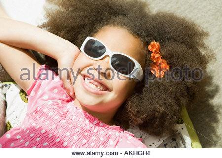 Girl wearing sunglasses - Stock Photo