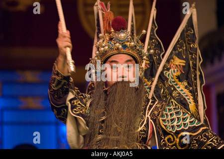 Male star in full costume at Chinese Opera Chengdu China in Sichuan Province - Stock Photo
