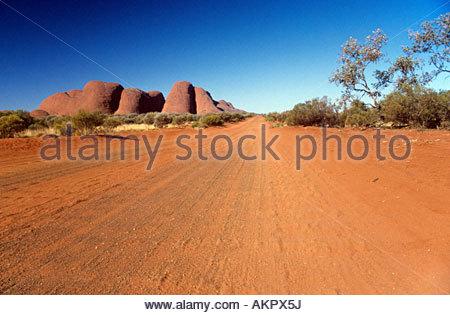 Dirt road in australia - Stock Photo