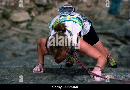 PICTURE CREDIT DOUG BLANE Woman rock climbing on a cliff in Chamonix Mont Blanc France - Stock Photo