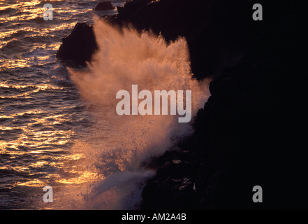 Wave crashing on coastal rocks at sunset Marin Headlands California - Stock Photo