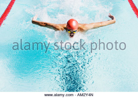 Swimmer in a pool - Stock Photo