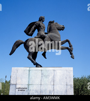 Equestrian Statue of Alexander the Great at Thessaloniki Greece - Stock Photo