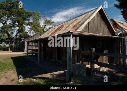 wooden porch of original house at Gulf Station Yarra Valley pioneer working farm and National trust property Victoria - Stock Photo