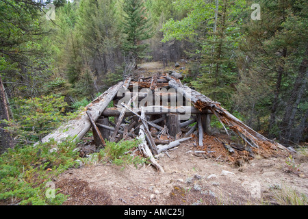 Remnants of old wooden bridge over North Fork Quartz Creek on a forest road in the Helena National Forest, Montana. - Stock Photo