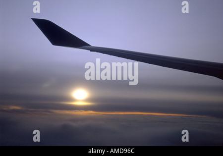 Boeing 747 Wing over African Skies GAV 1005 - Stock Photo