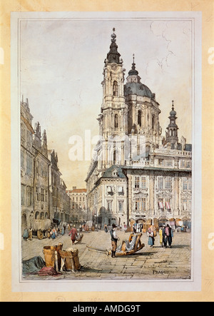 fine arts, Morstadt, Vinzenz (1802 - 1875), views of Prague: Saint Nicolas Church, colour lithograph, 19th century, - Stock Photo